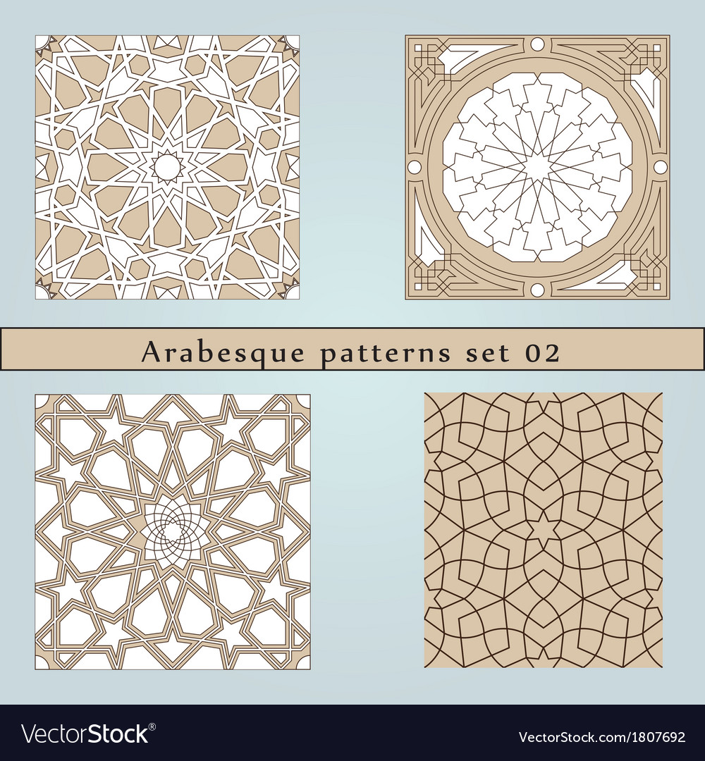 Set of four arabesque seamless pattern vector | Price: 1 Credit (USD $1)