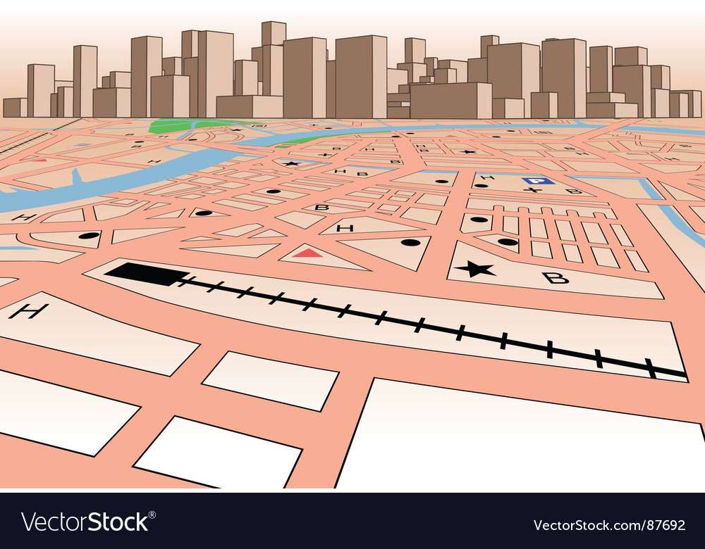 Skyline map vector | Price: 1 Credit (USD $1)