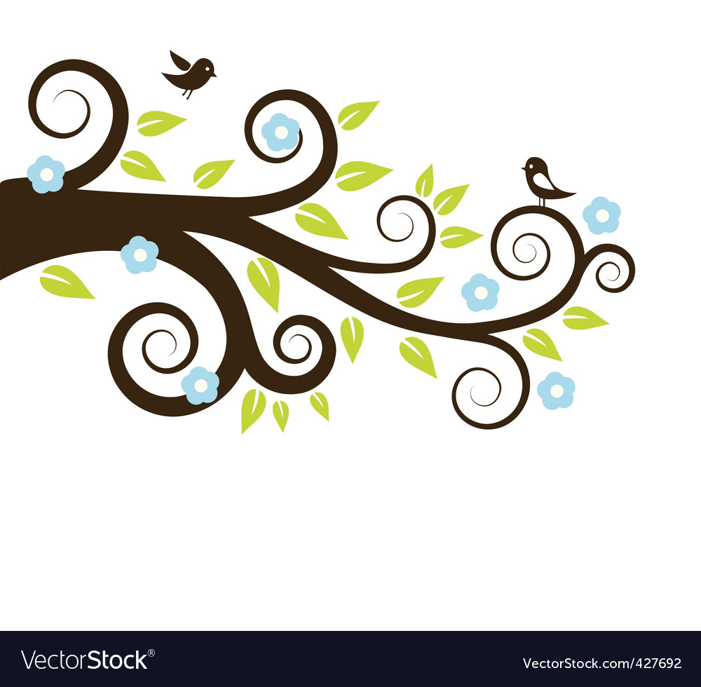 Spring tree with birds vector | Price: 1 Credit (USD $1)