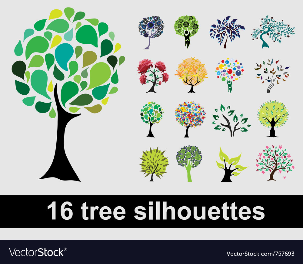 16 tree silhouettes vector | Price: 1 Credit (USD $1)