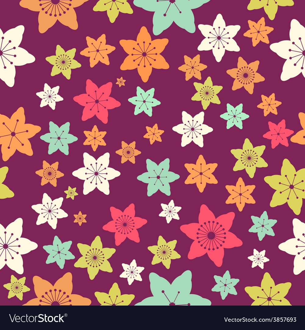 Abstract colorful flowers seamless pattern vector   Price: 1 Credit (USD $1)