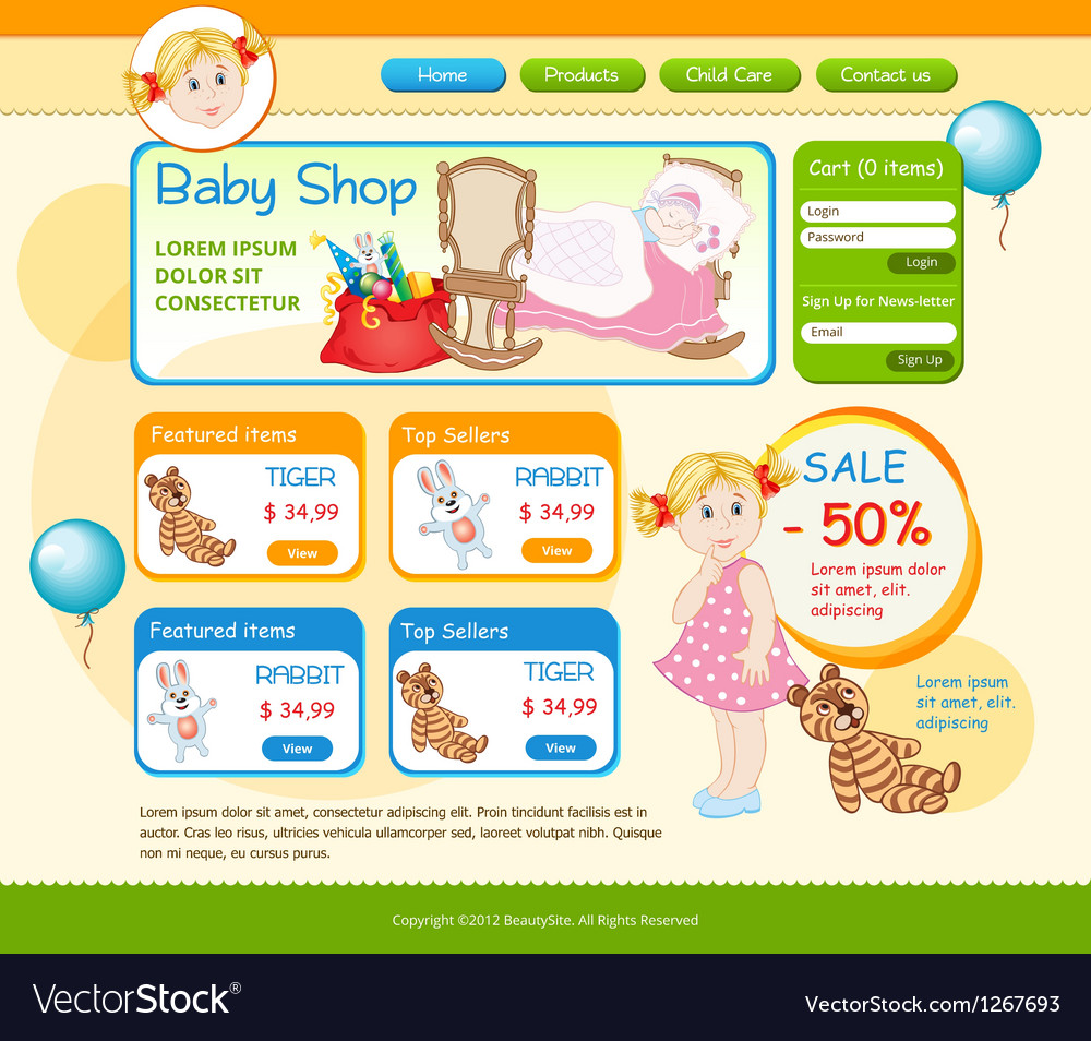 Baby shop web template vector | Price: 1 Credit (USD $1)