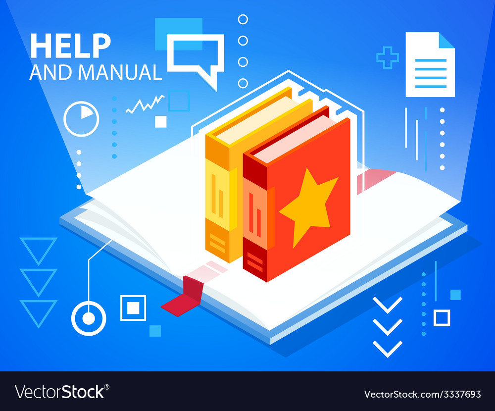 Bright manual and books on blue background f vector | Price: 3 Credit (USD $3)