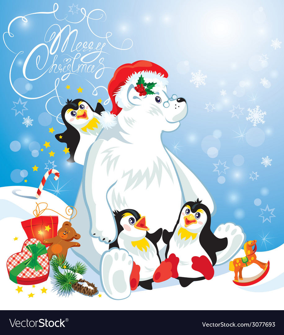 Card with funny penguins and polar bear with prese vector | Price: 1 Credit (USD $1)