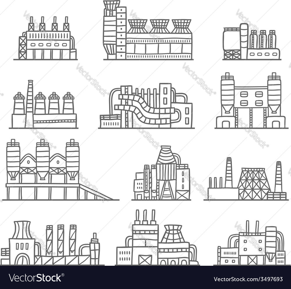 Cute cartoon hand drawn doodle factory set vector | Price: 1 Credit (USD $1)