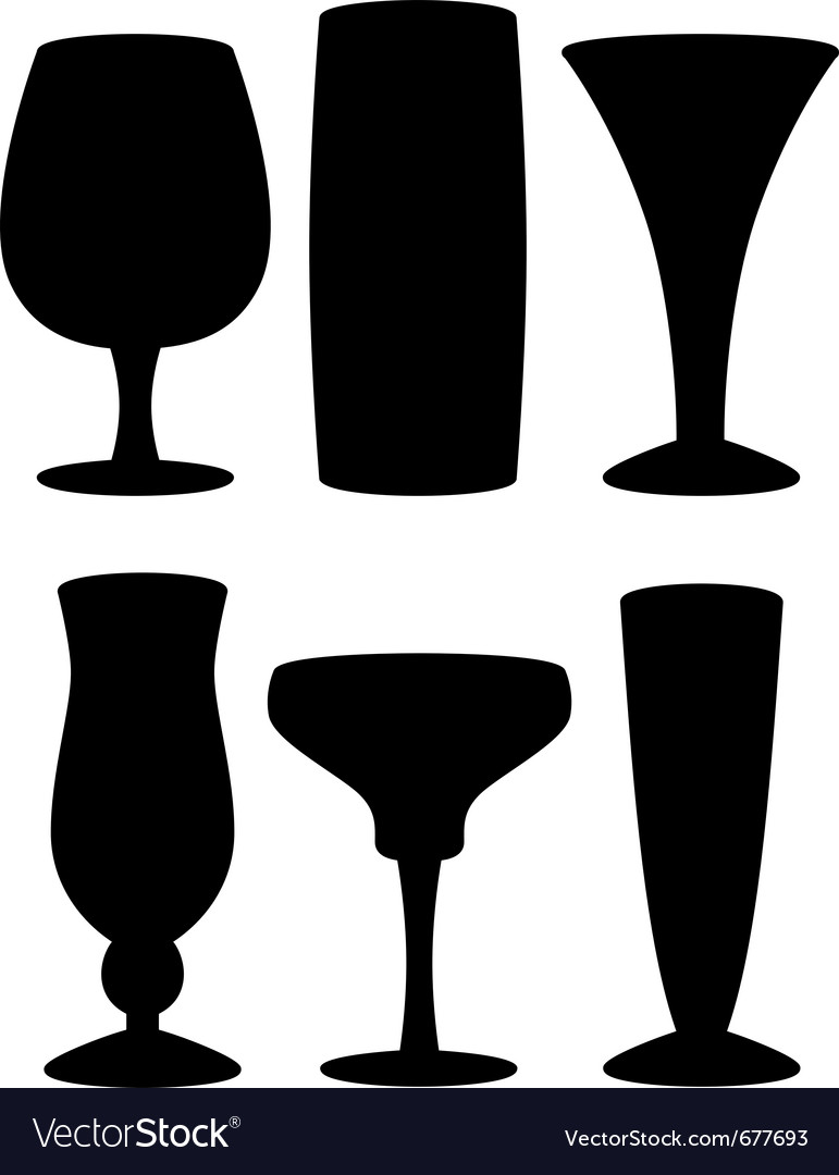Drink glass silhouettes vector | Price: 1 Credit (USD $1)