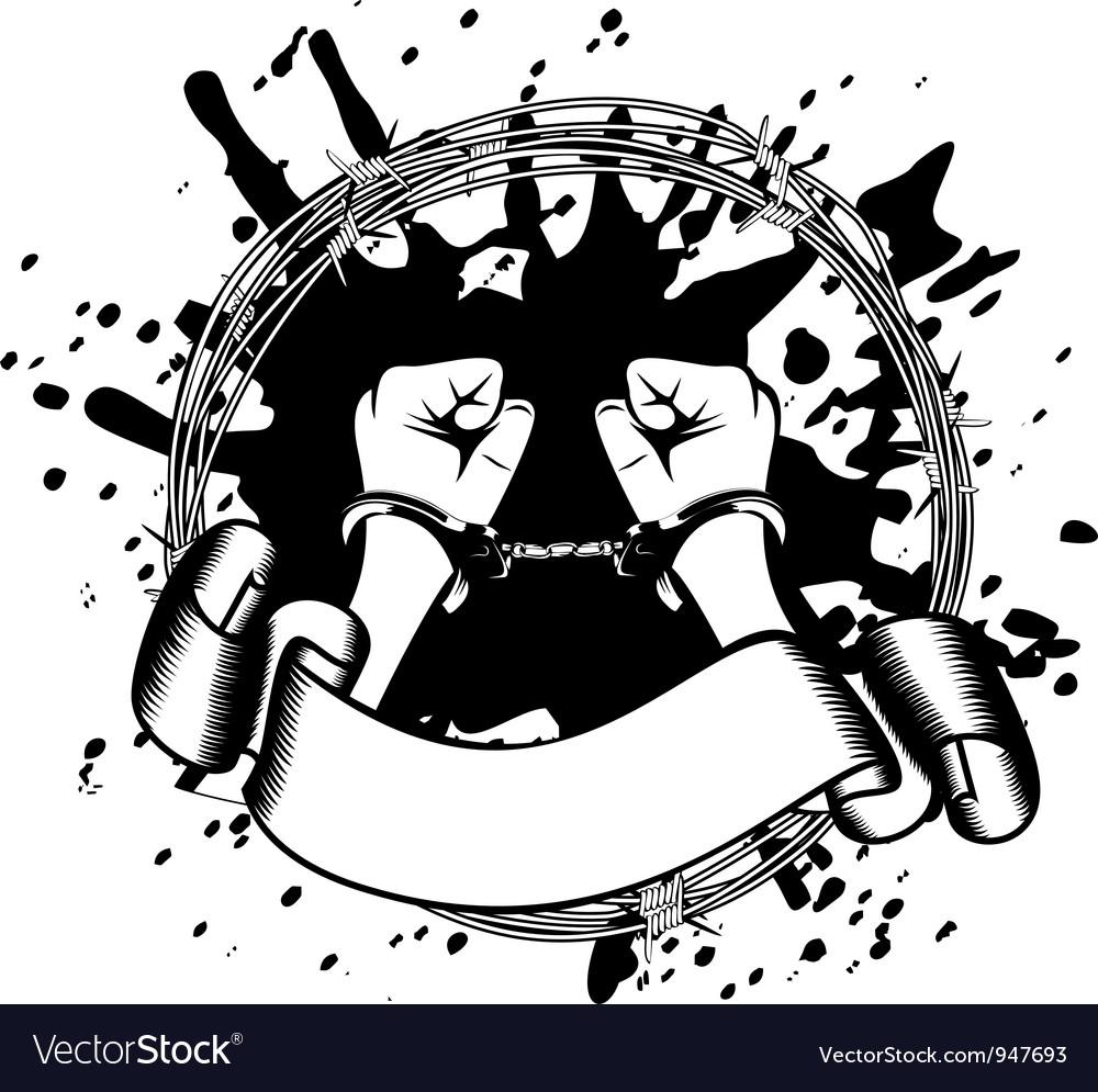 Hands in handcuffs vector