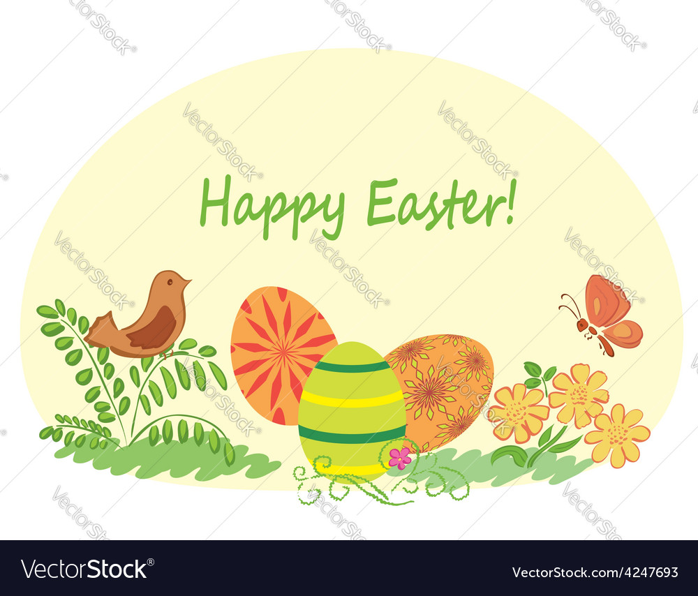 Happy easter - nature with easter eggs vector | Price: 1 Credit (USD $1)