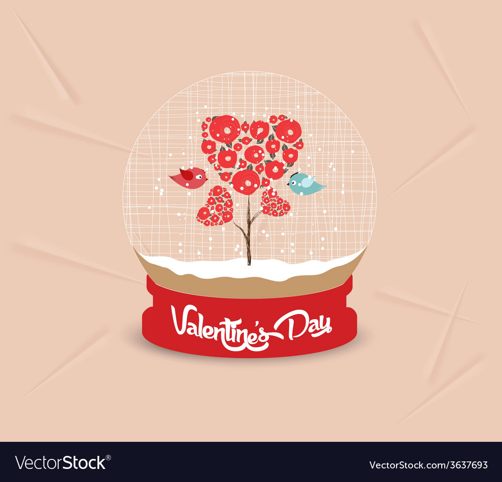 Happy valentines day with couple tree heart globe vector   Price: 1 Credit (USD $1)