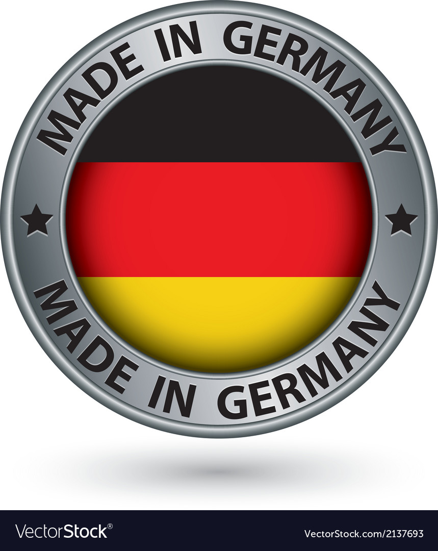 Made in germany silver label with flag vector | Price: 1 Credit (USD $1)