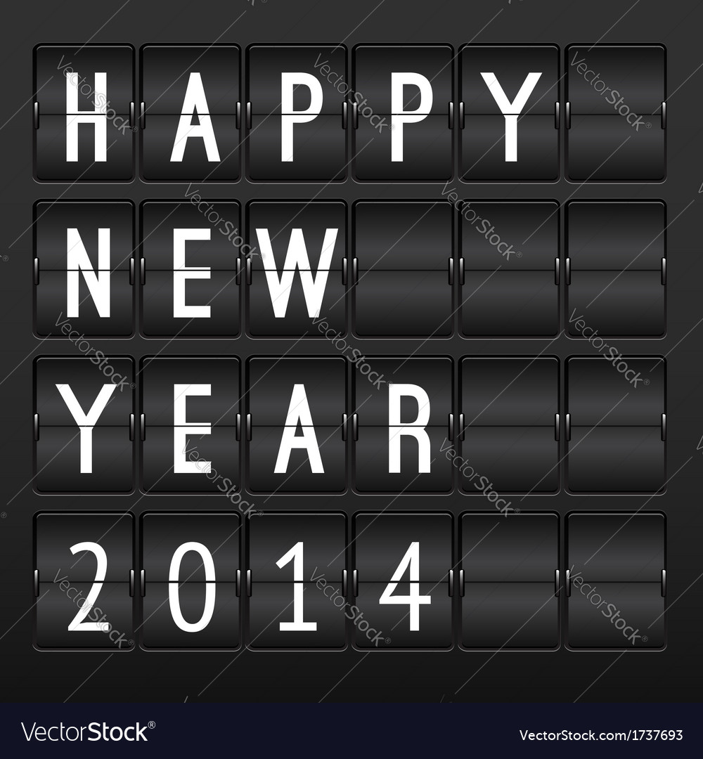 Mechanical timetable happy new year 2014 vector | Price: 1 Credit (USD $1)