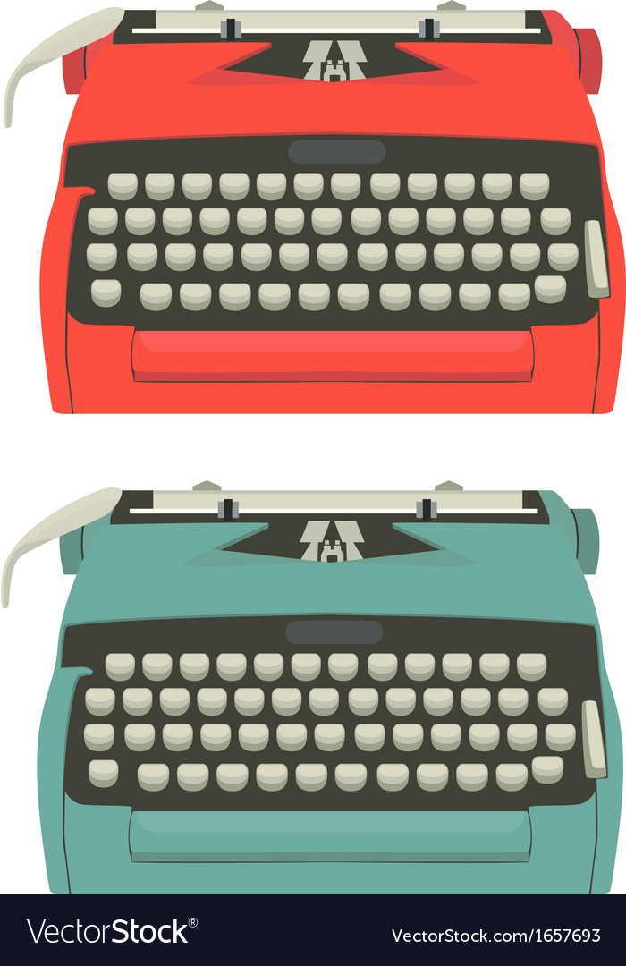 Retro typewriter set vector | Price: 1 Credit (USD $1)