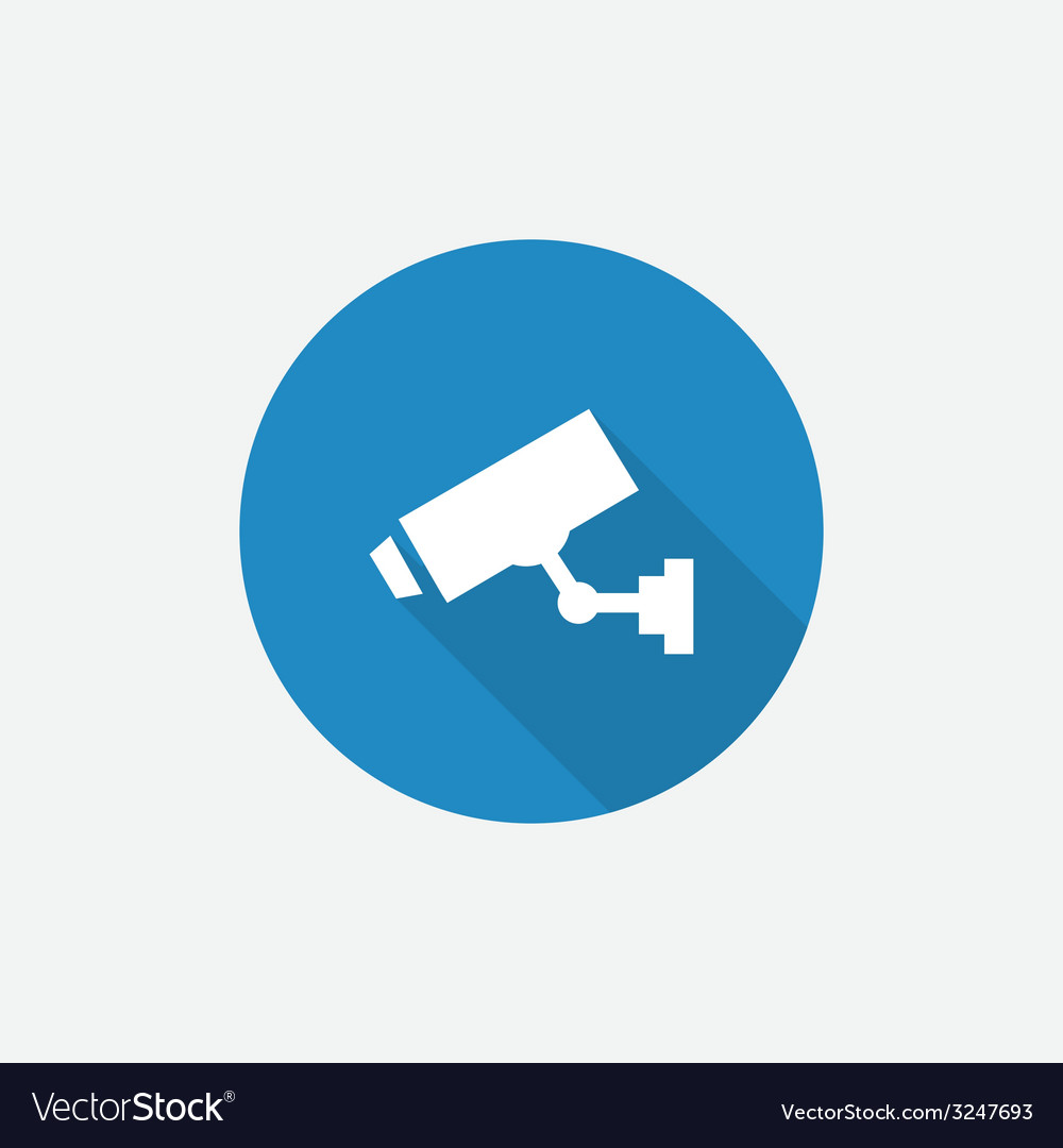 Security camera flat blue simple icon with long vector | Price: 1 Credit (USD $1)
