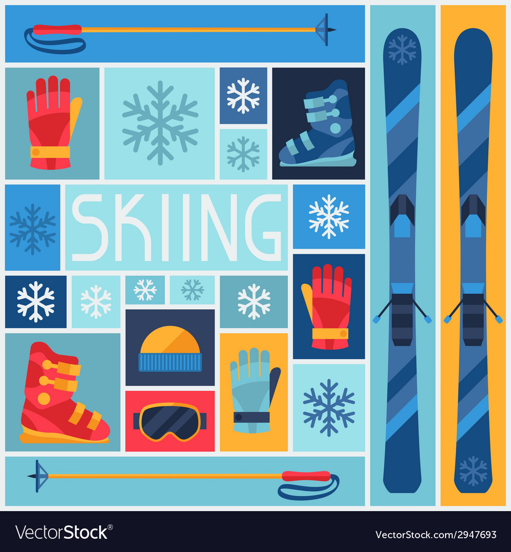 Sports background with skiing equipment flat icons vector | Price: 1 Credit (USD $1)