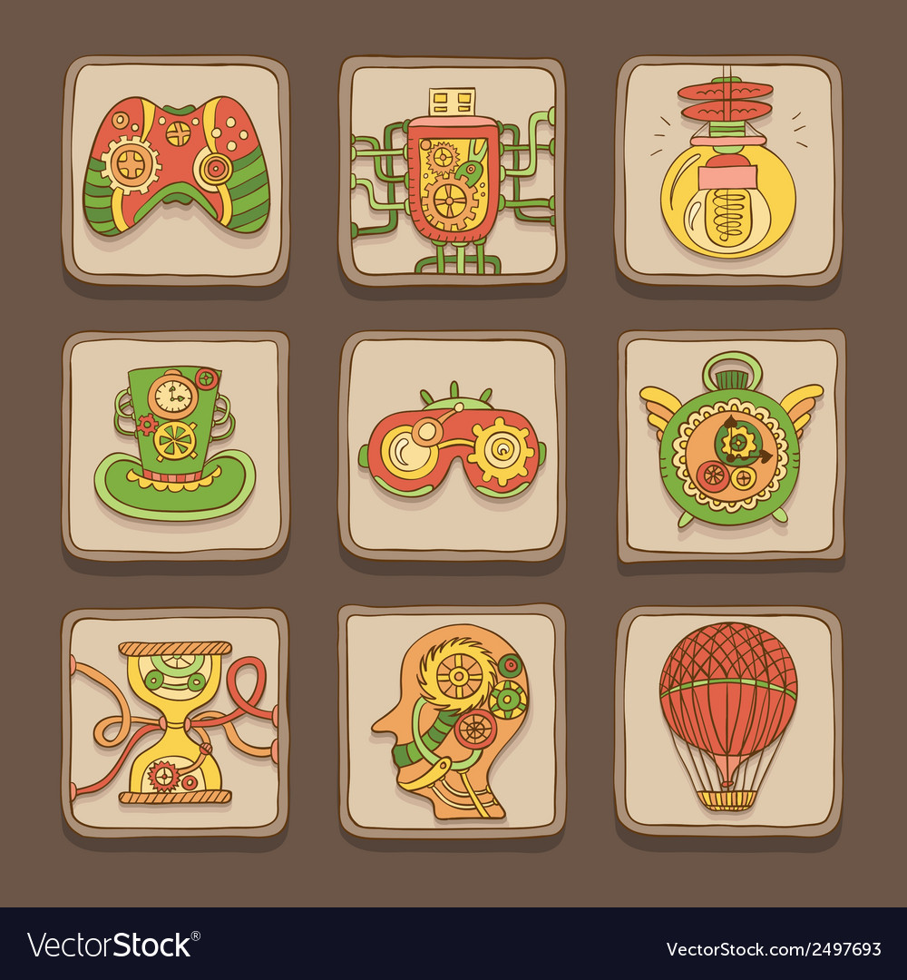 Steampunk icons vector | Price: 1 Credit (USD $1)