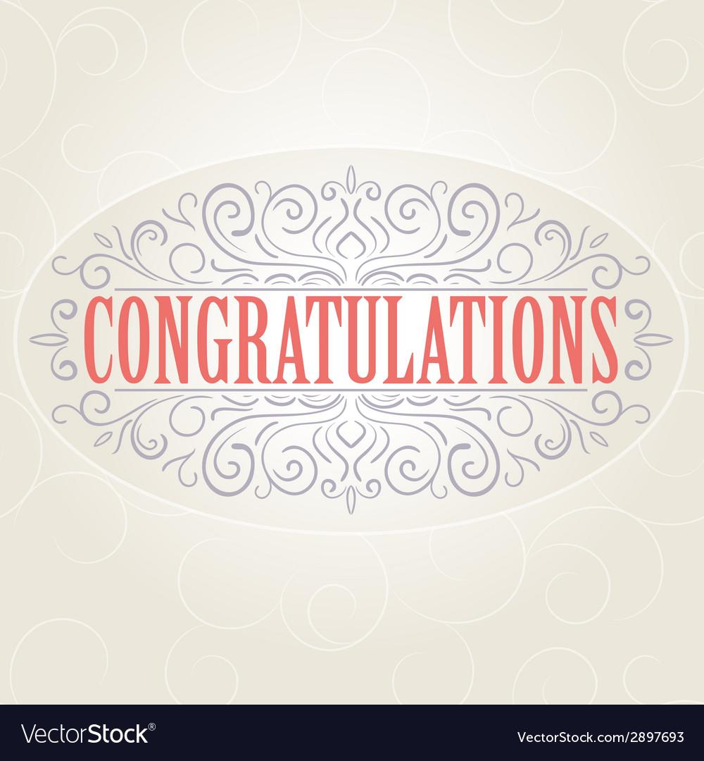 Vintage congratulations card vector | Price: 1 Credit (USD $1)