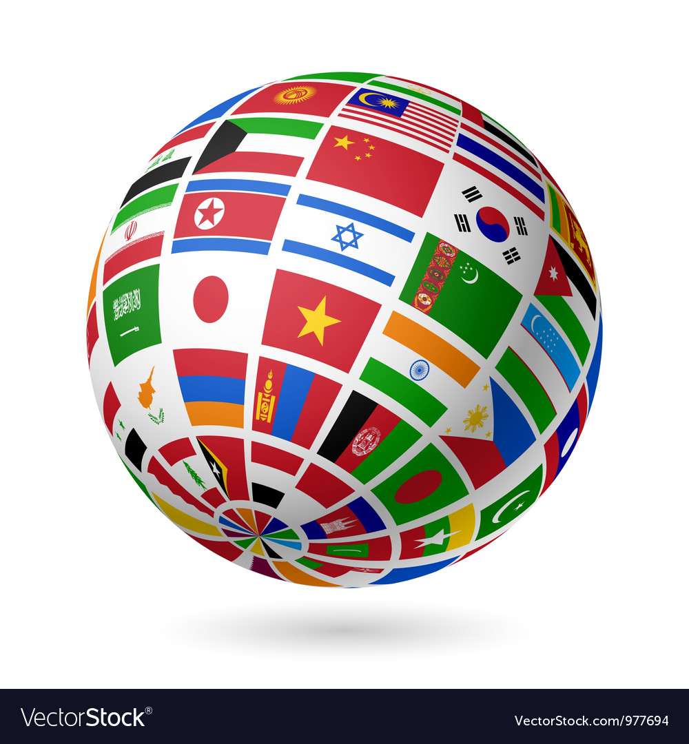 Asian flags globe vector | Price: 1 Credit (USD $1)