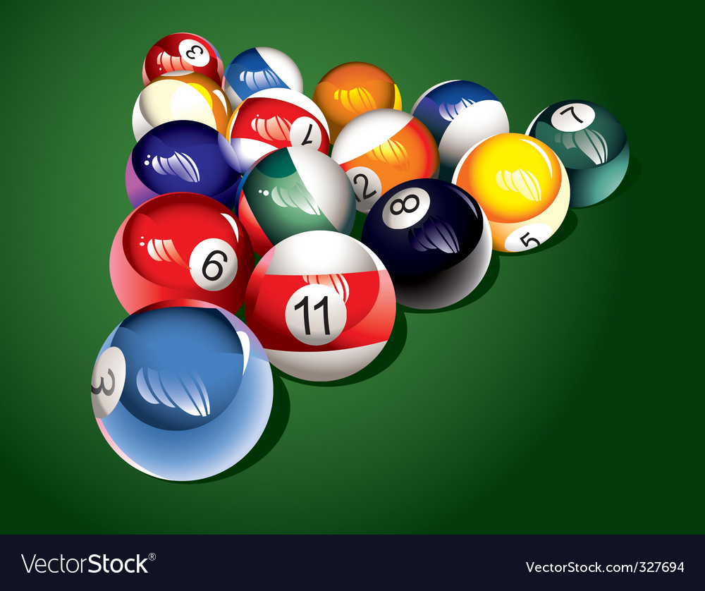 Billiard balls on the table vector | Price: 1 Credit (USD $1)