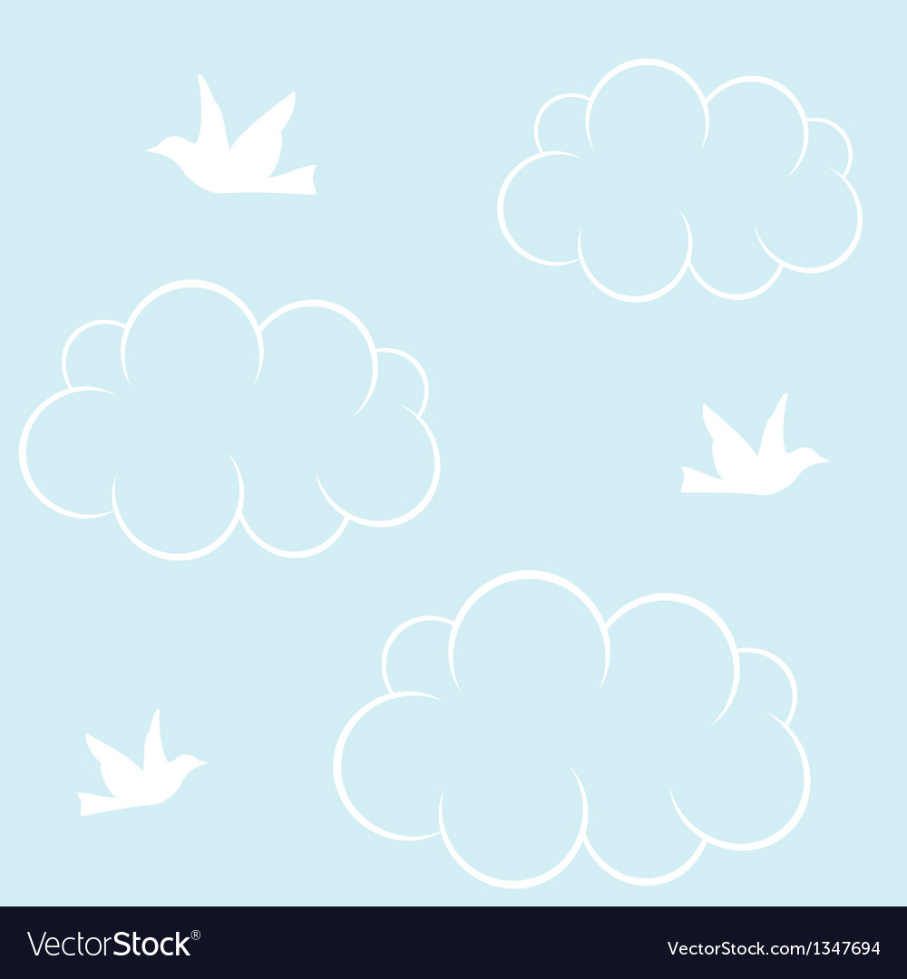 Birds cloud and blue sky vector | Price: 1 Credit (USD $1)