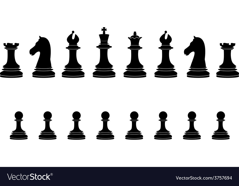 Black chess pieces full collection vector | Price: 1 Credit (USD $1)