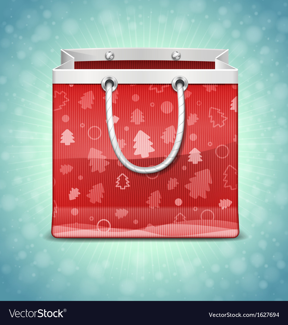 Christmas red shopping bag vector | Price: 1 Credit (USD $1)