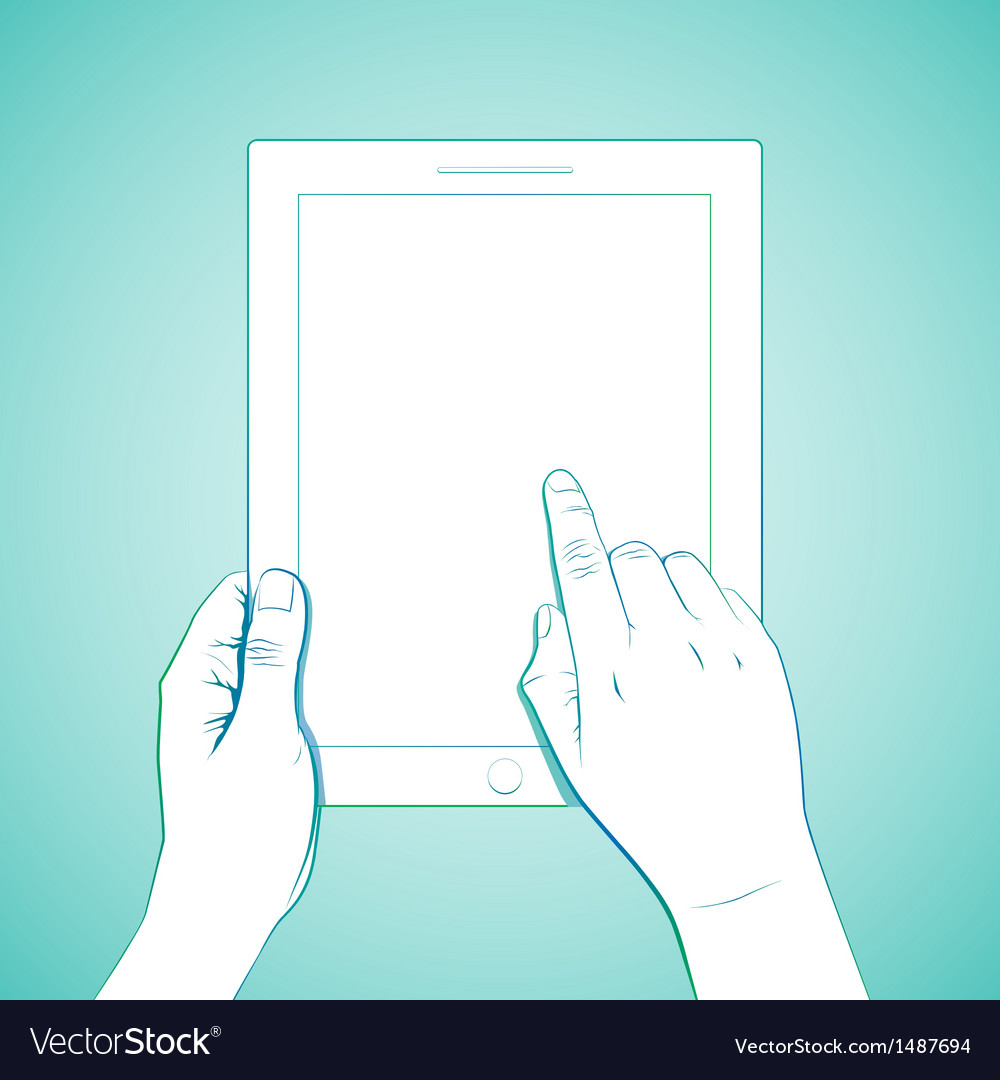 Hand touching 10 inchtablet vector | Price: 3 Credit (USD $3)