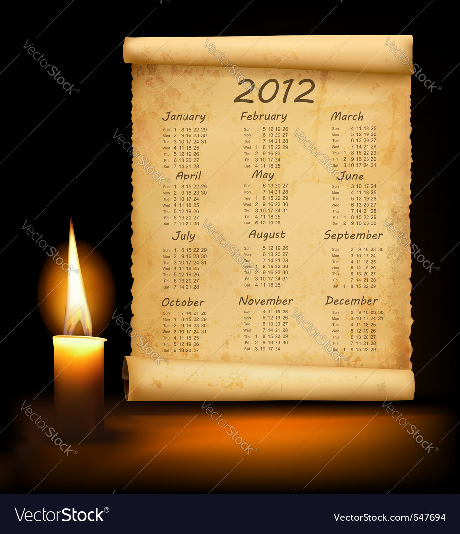 Old paper with calendar 2012 vector | Price: 1 Credit (USD $1)