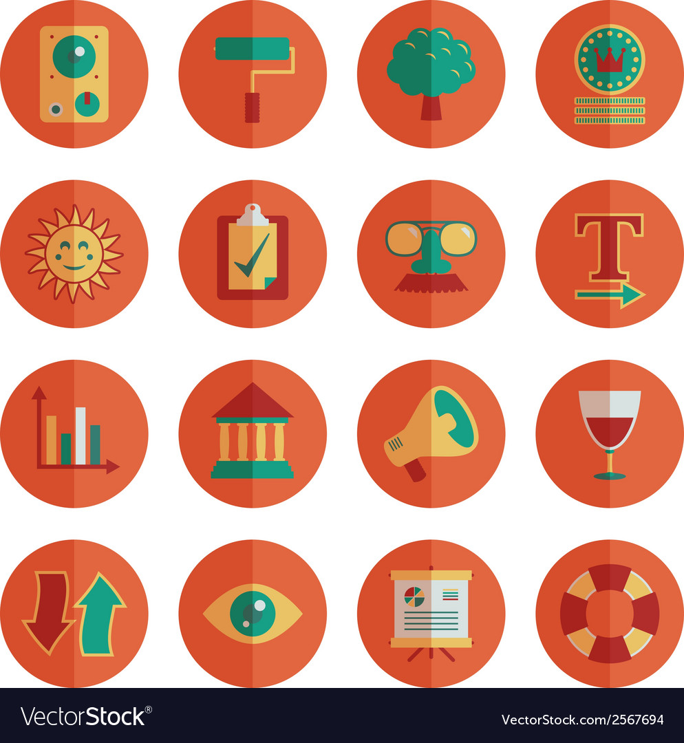 Round media icons vector | Price: 3 Credit (USD $3)