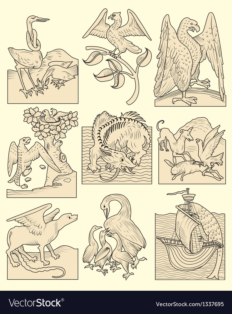 Animals and medieval scenes vector | Price: 1 Credit (USD $1)