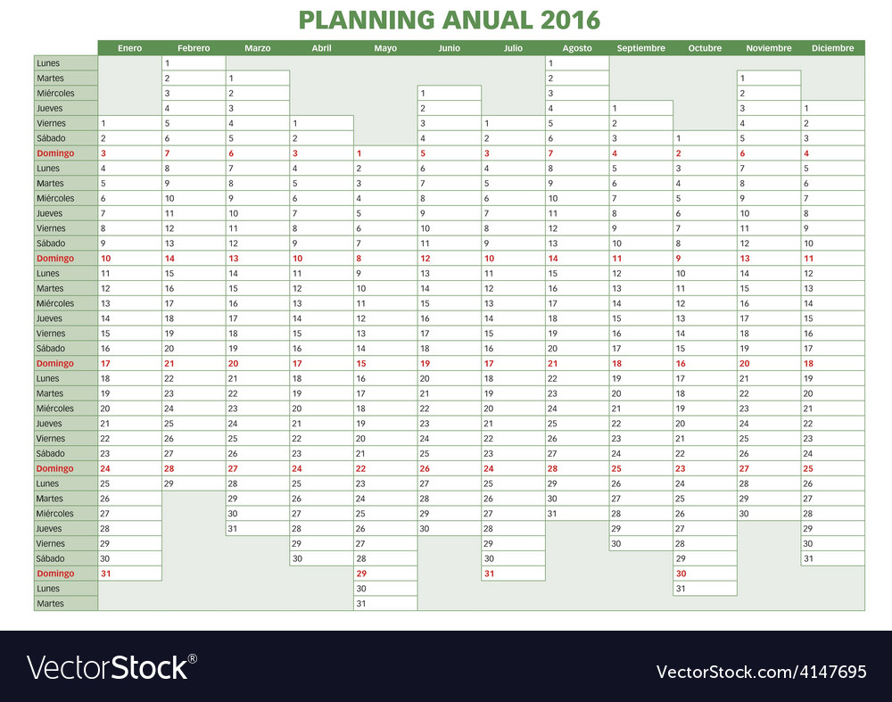 Annual planner spanish 2016indd vector | Price: 1 Credit (USD $1)