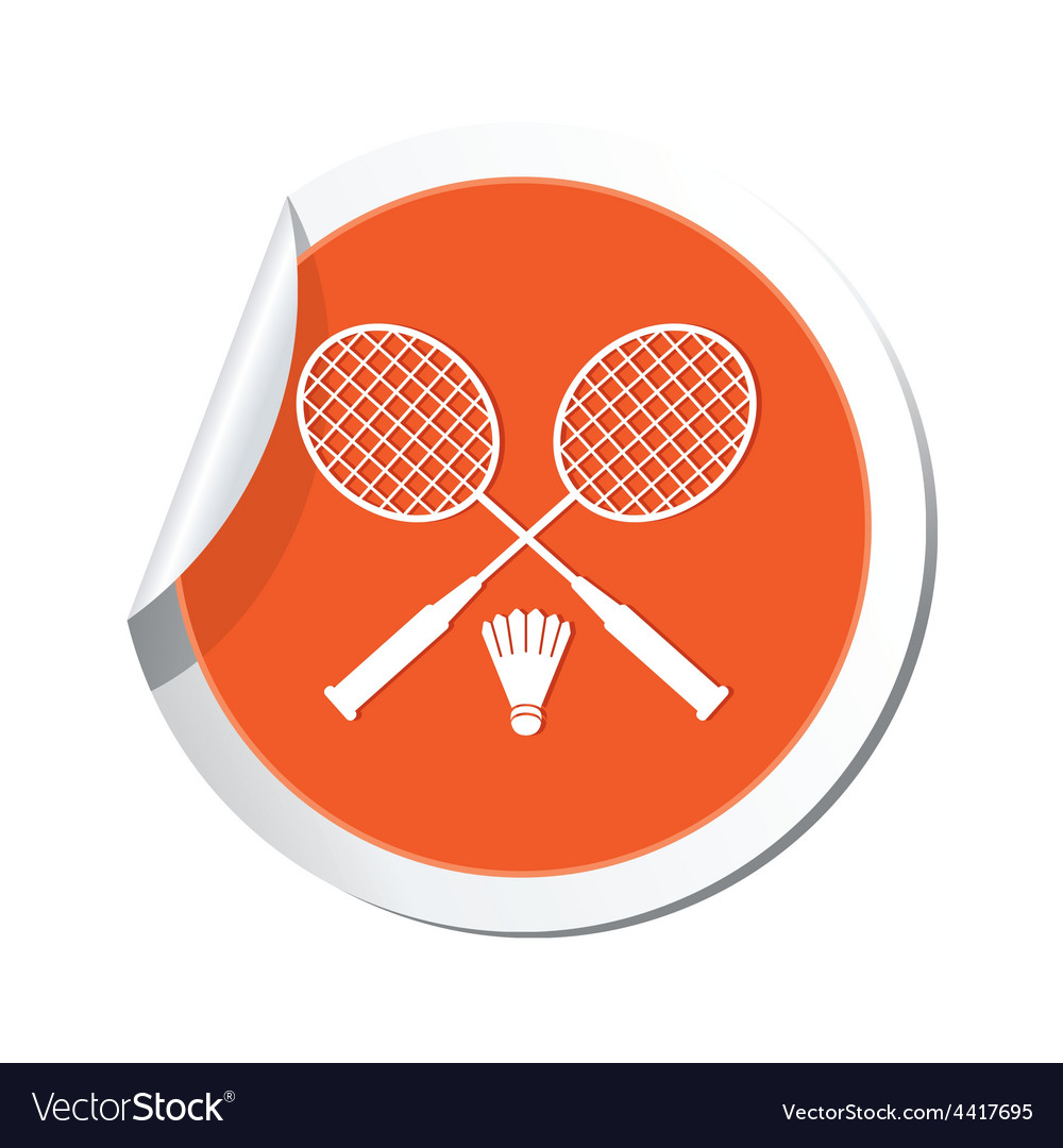 Badminton orange label vector | Price: 1 Credit (USD $1)