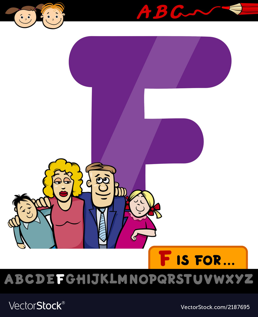 Letter f with family cartoon vector | Price: 1 Credit (USD $1)