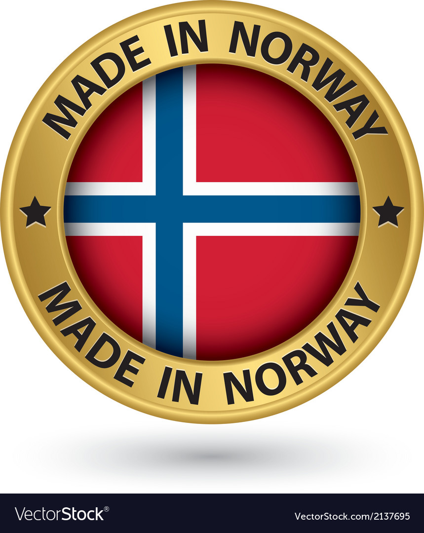 Made in norway gold label with flag vector | Price: 1 Credit (USD $1)