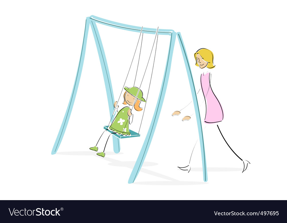 Mom pushing daughter on swing vector | Price: 1 Credit (USD $1)