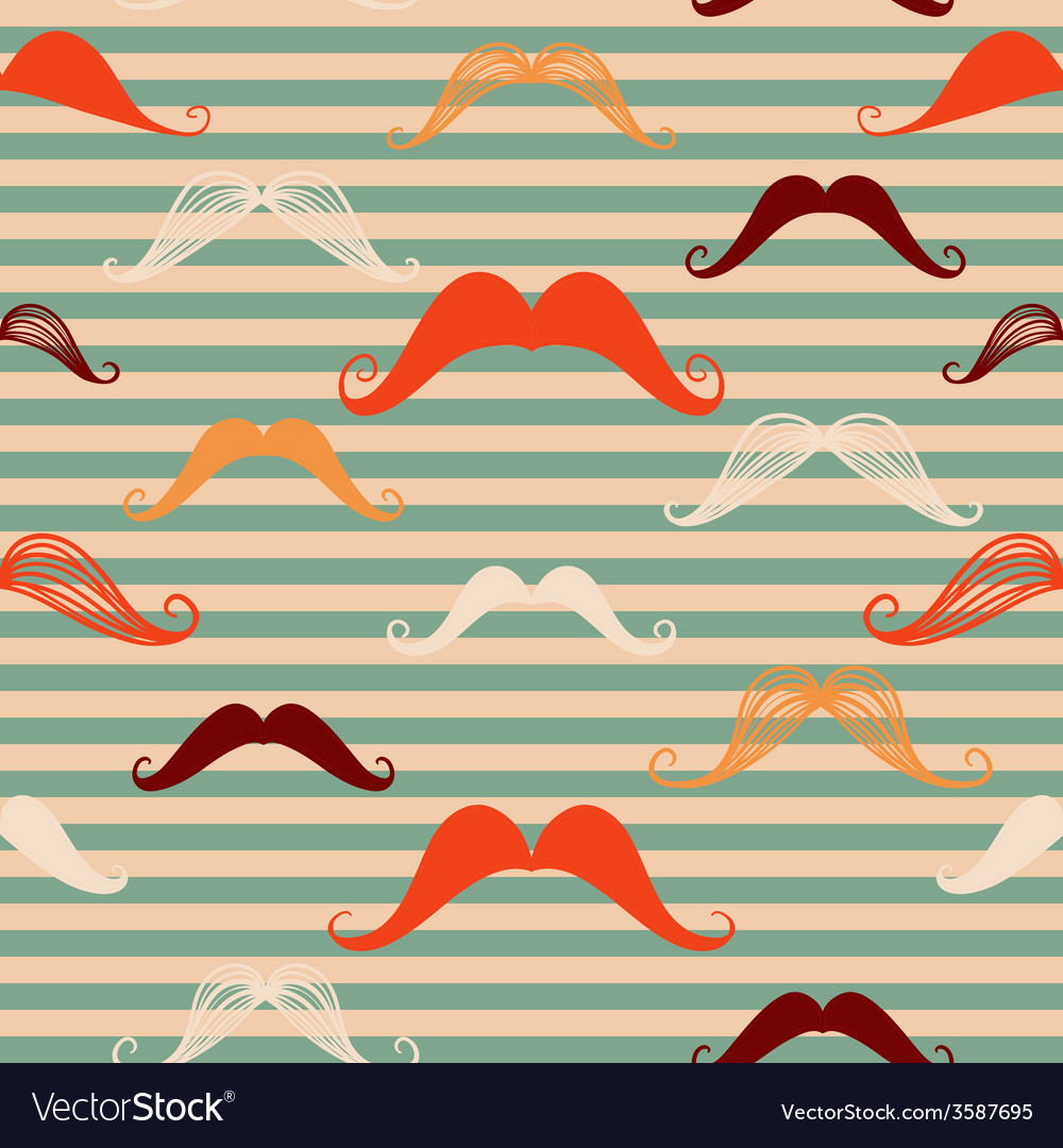 Mustache seamless pattern in vintage style pattern vector   Price: 1 Credit (USD $1)