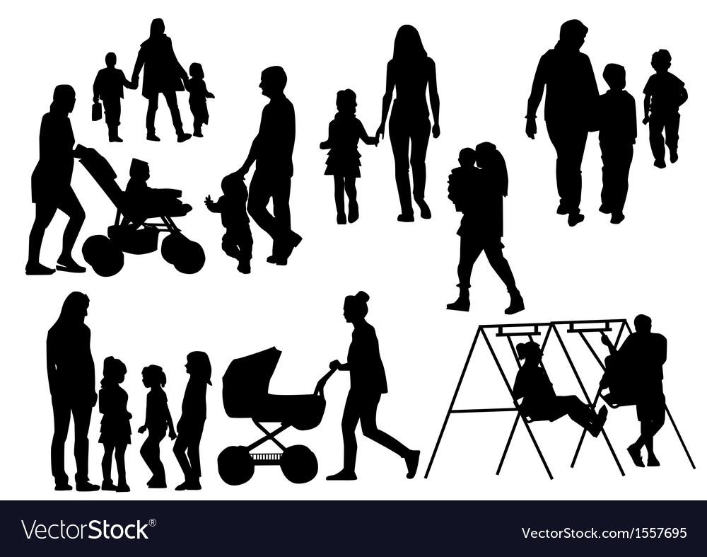 Parents with children vector | Price: 1 Credit (USD $1)