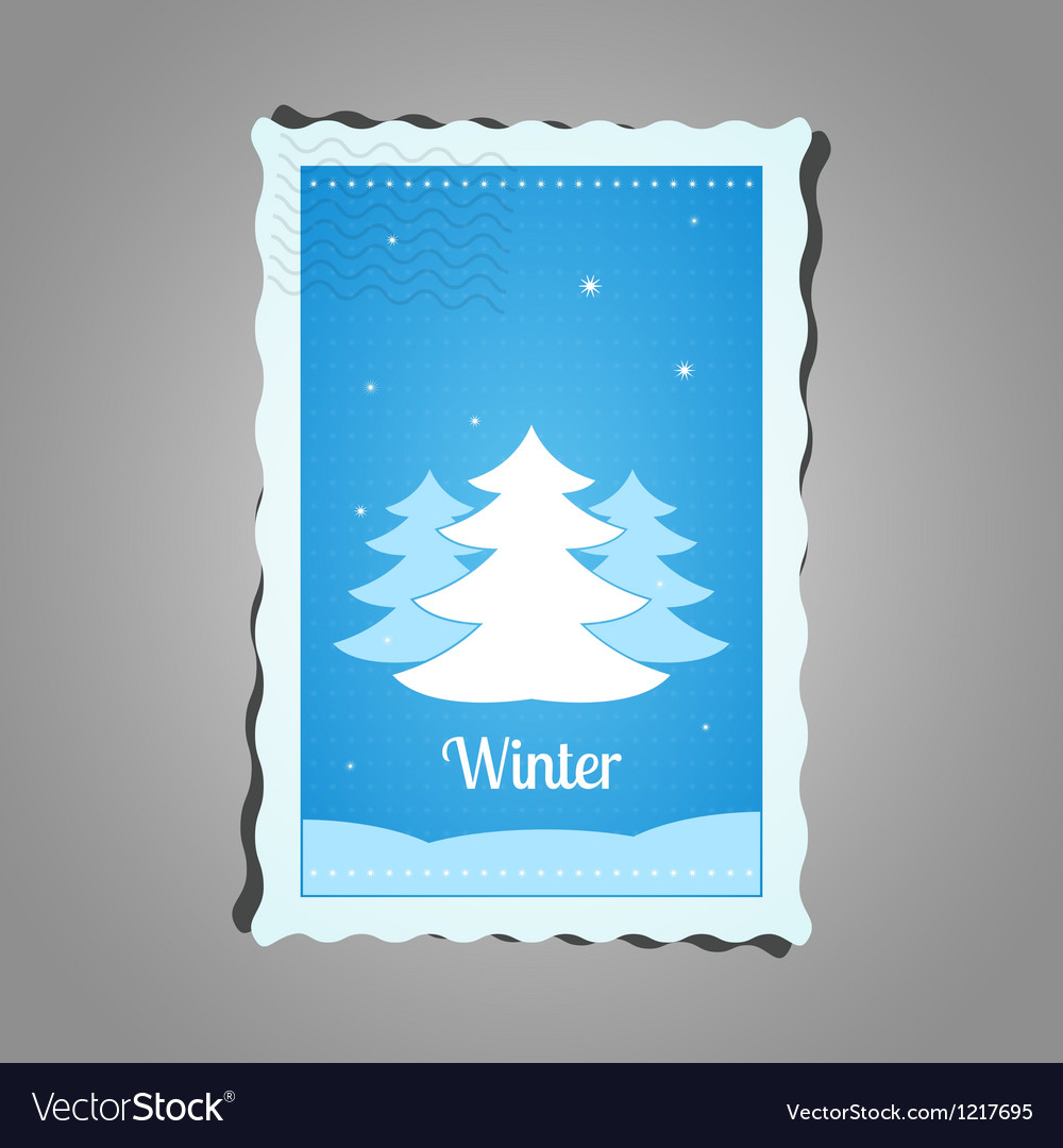 Postage stamp winter vector
