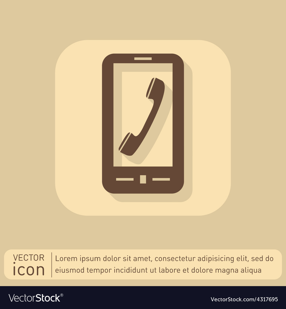 Smartphone with the symbol telephone handset vector   Price: 1 Credit (USD $1)