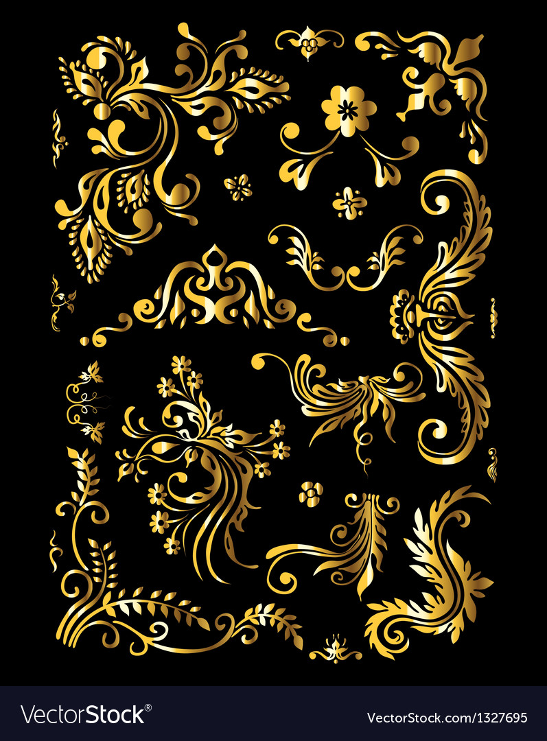 Vintage golden decoration elements vector | Price: 1 Credit (USD $1)