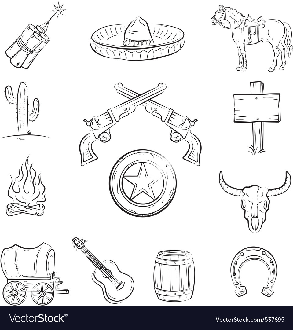 Wild west icons vector | Price: 1 Credit (USD $1)