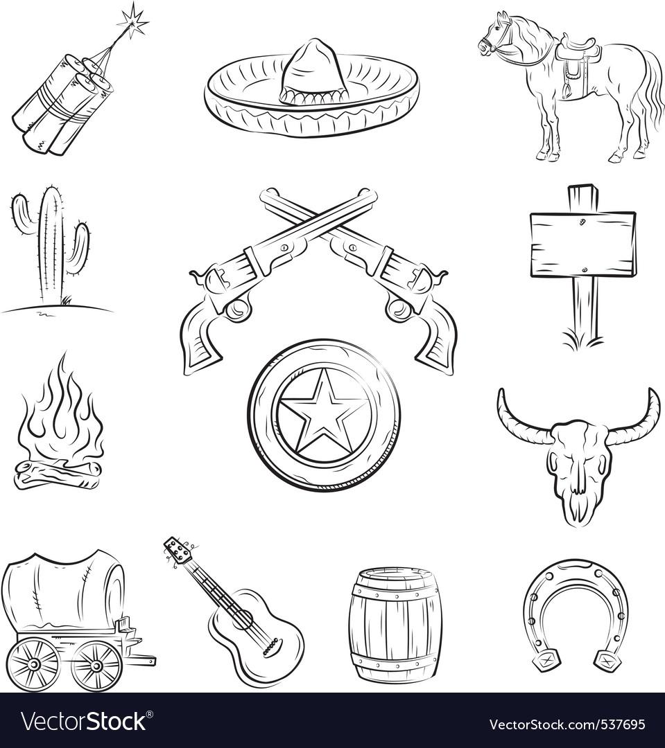 Wild west icons vector | Price: 1 Credit (USD $1)