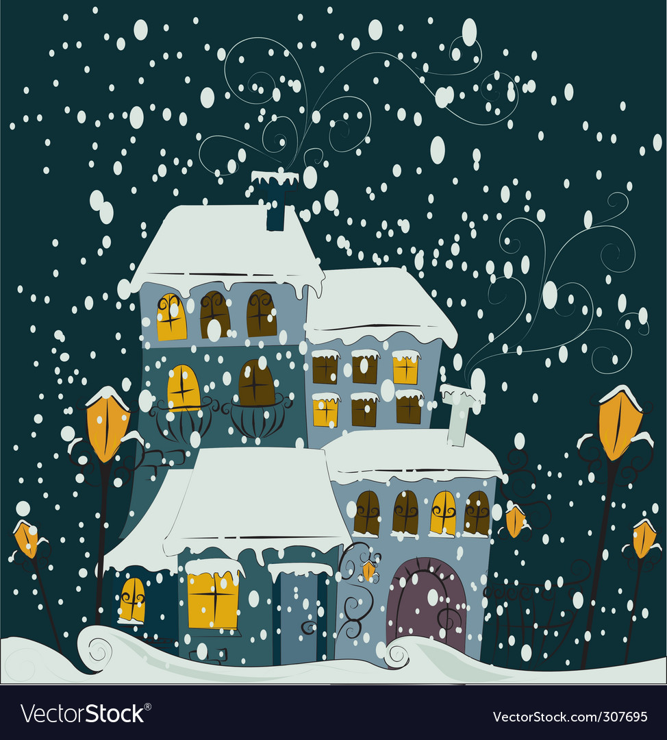 Winter scene vector | Price: 3 Credit (USD $3)