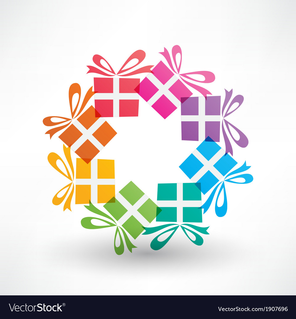 Colored corcle of gifts vector | Price: 1 Credit (USD $1)