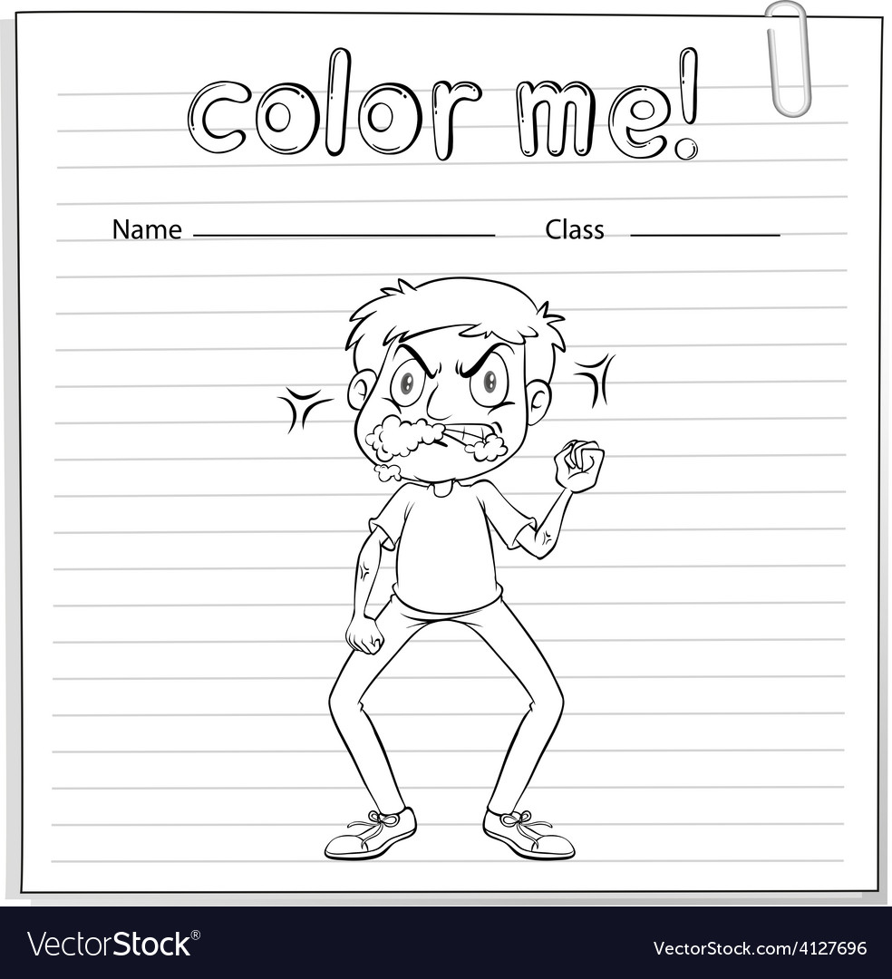 Coloring worksheet with a man vector | Price: 3 Credit (USD $3)