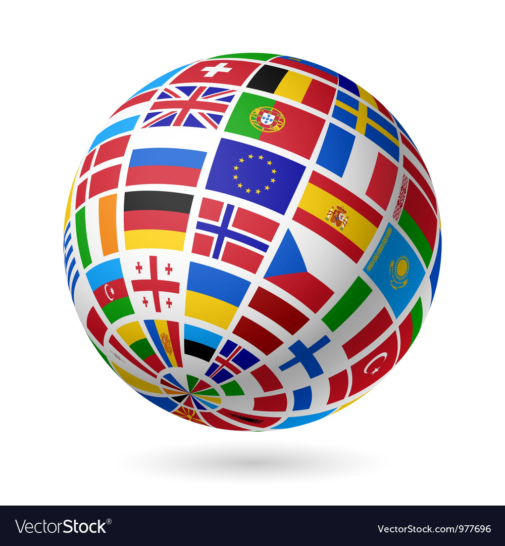 European flags globe vector | Price: 1 Credit (USD $1)