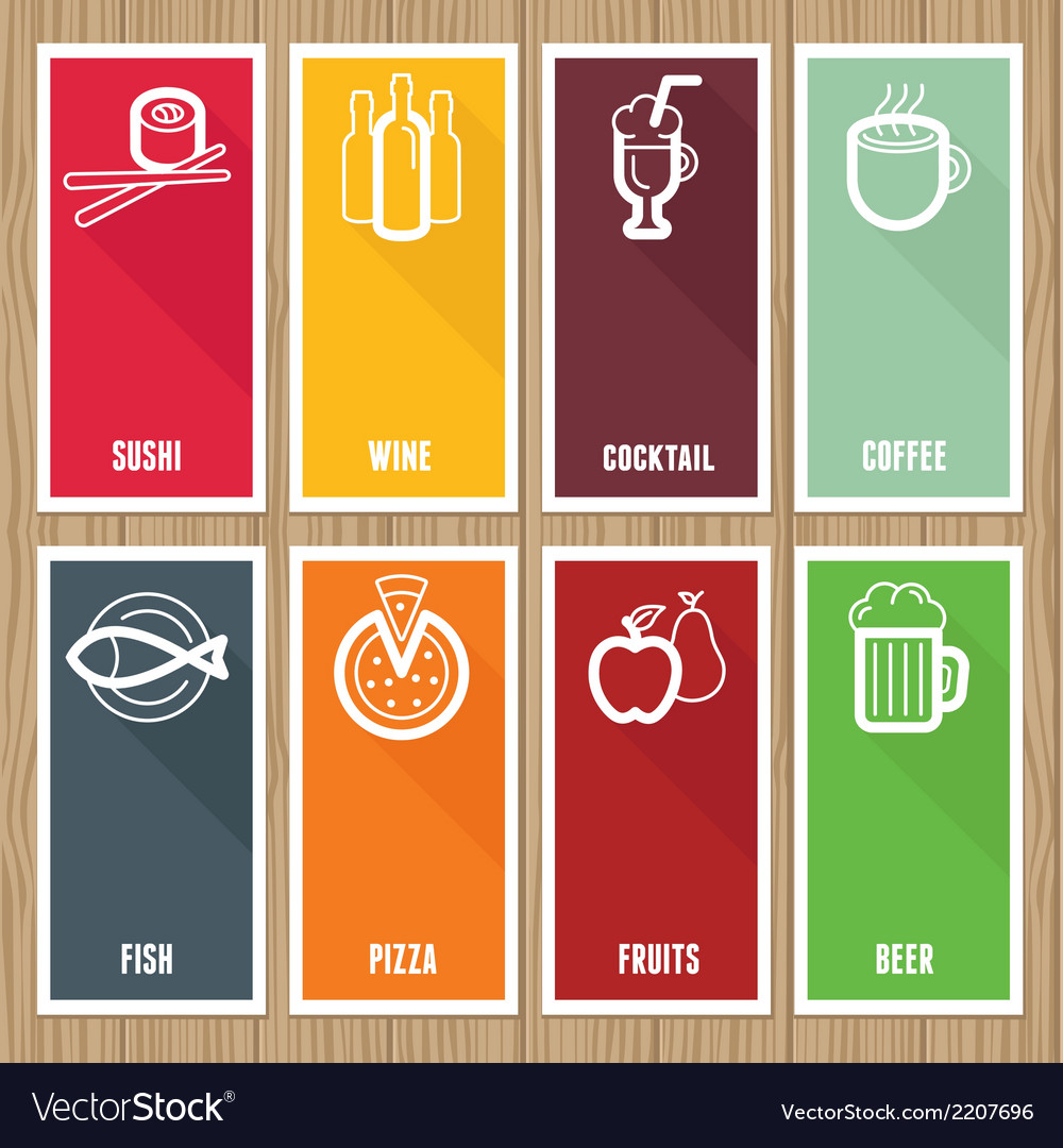 Flat banners with cafe icons vector | Price: 1 Credit (USD $1)