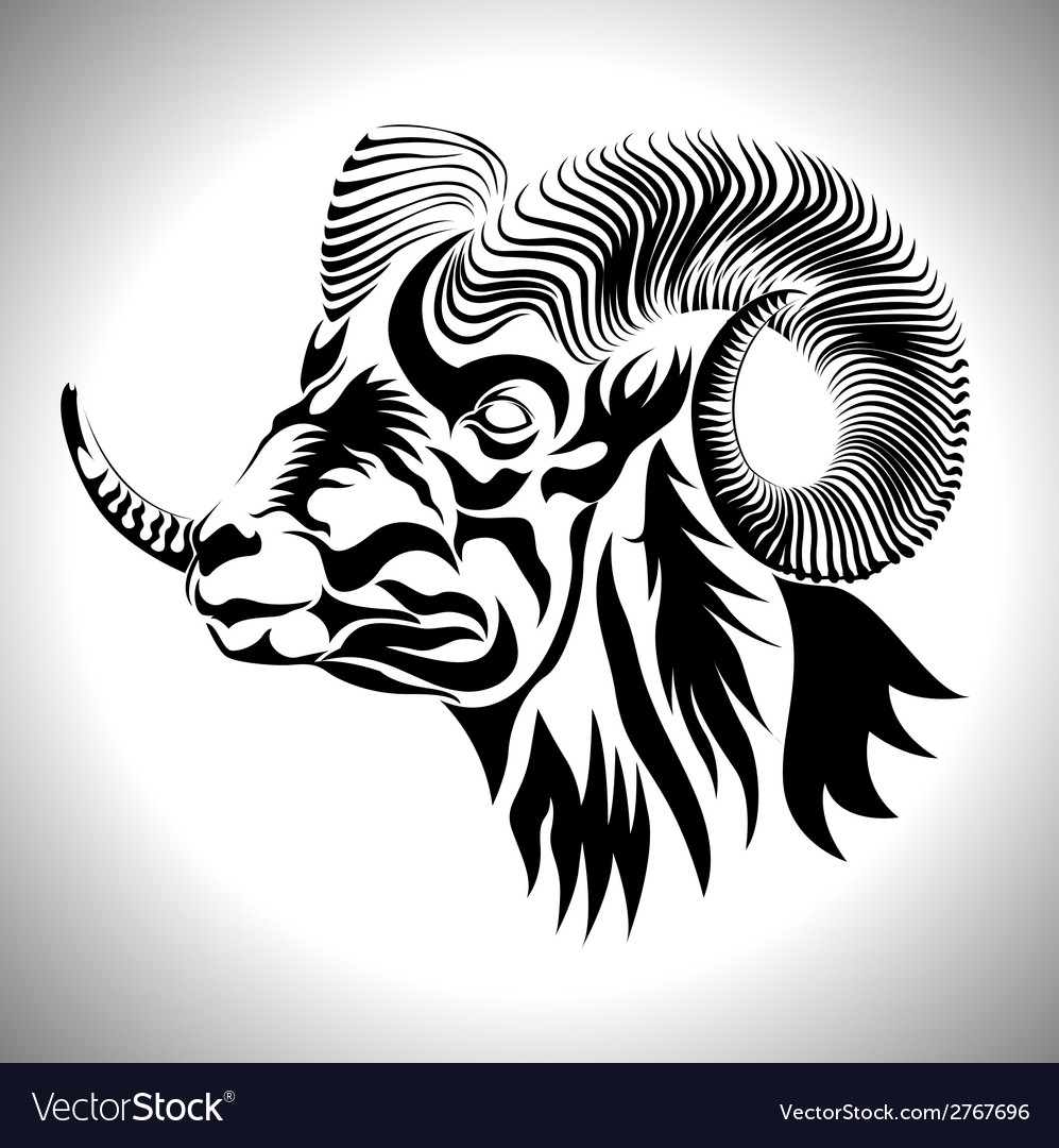Goat face vector | Price: 1 Credit (USD $1)