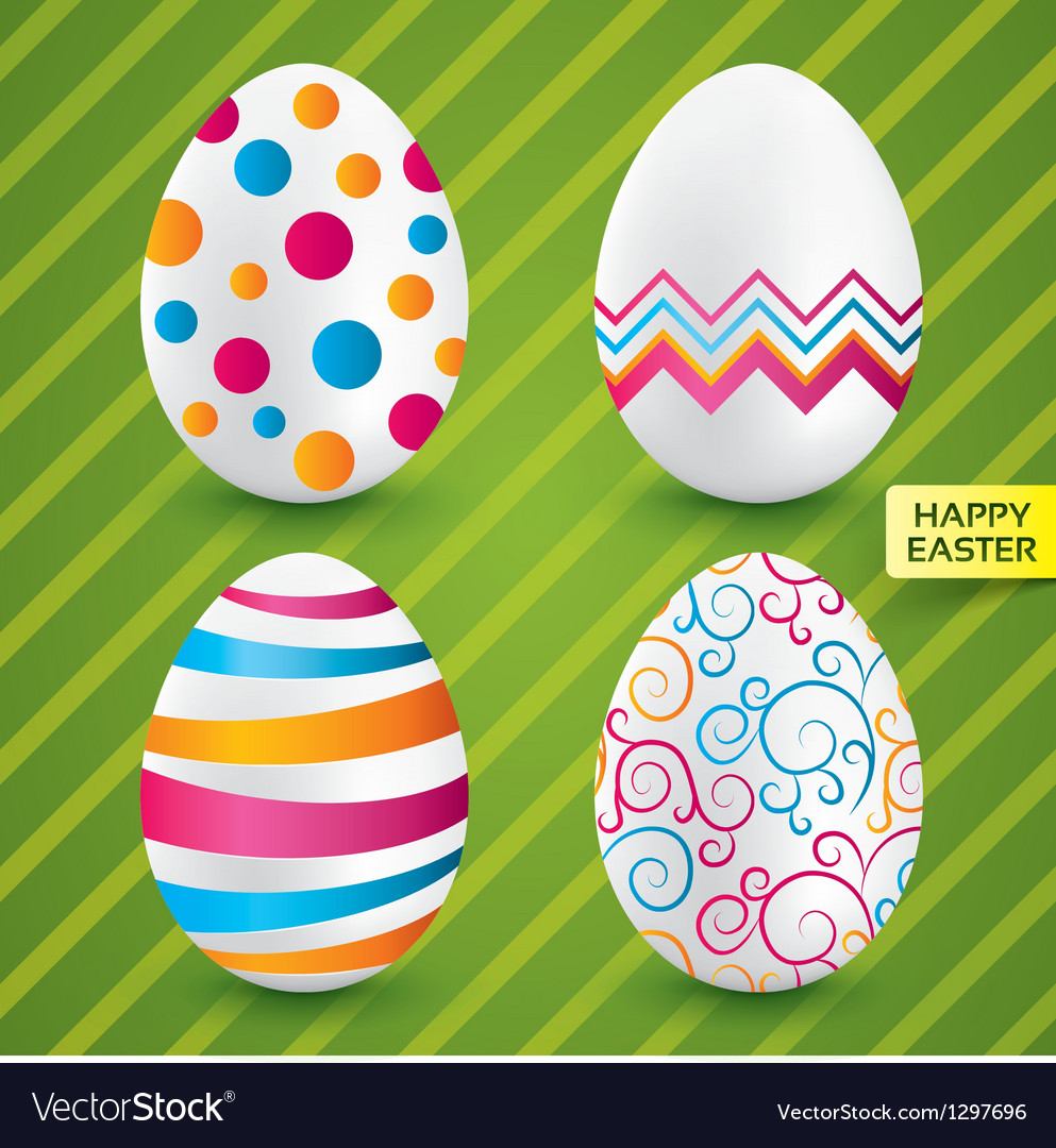 Happy easter white eggs with colorful patterns vector | Price: 1 Credit (USD $1)