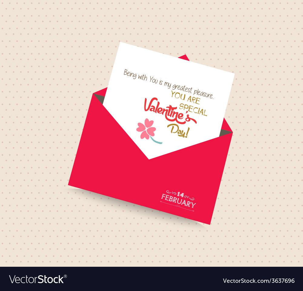 Happy valentines day greeting card with envelope vector