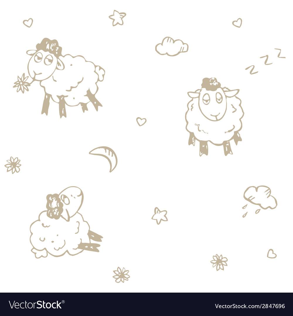 Seamless sheep pattern vector | Price: 1 Credit (USD $1)